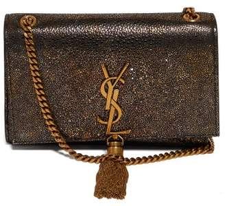 Saint Laurent Kate Metallic-leather Cross-body Bag - Womens - Black Gold