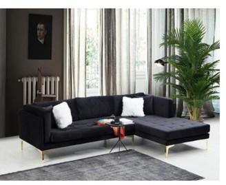 """Everly Quinn Mcculloch 115"""" Wide Velvet Right Hand Facing Sofa & Chaise Fabric: Blue Velvet"""