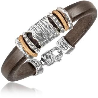 Silver Band Leather Bracelet