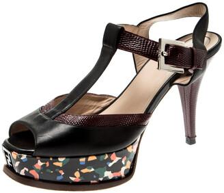 Fendi Multicolor Embossed Lizard Leather T Strap Platform Sandals Size 38