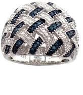 Savvy Cie Blue Diamond Basket Weave Ring - 0.20 ctw