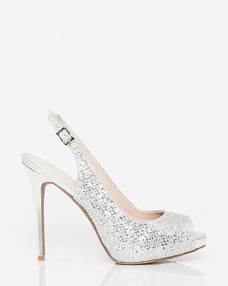 Le Château Glitter Mesh Peep Toe Slingback