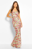 boohoo Floral Woven Satin Cowl Slip Dress