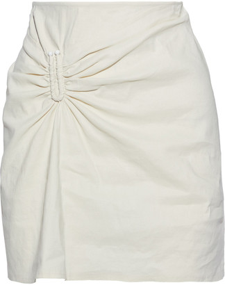 A.L.C. Barbell-embellished Gathered Linen-blend Mini Skirt