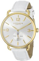 Akribos XXIV Women's AK658WTG Essential Gold-Tone Stainless Steel Watch with White Leather Strap