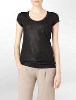 Calvin Klein Shimmery Scoopneck Pocket T-Shirt