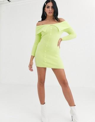 ASOS DESIGN fluffy bardot knit mini dress