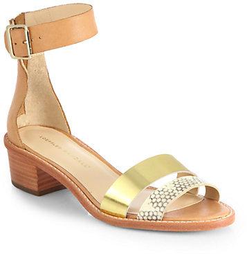 Loeffler Randall Henry Mixed Media Ankle-Strap Sandals