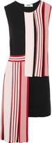 MSGM Layered intarsia-knit cotton dress