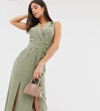 Asos Tall DESIGN Tall sleeveless tux midi dress with belt