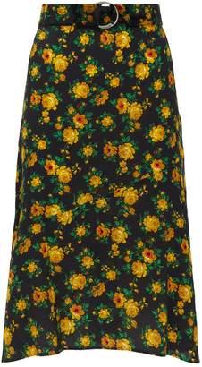 Claudie Pierlot Floral Silk Midi Skirt