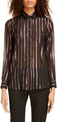 Saint Laurent Sheer Lame Stripe Shirt