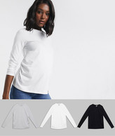 Asos DESIGN Maternity ultimate organic cotton long sleeve crew neck t-shirt in 3 pack SAVE
