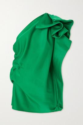 AZ Factory - Switchwear One-shoulder Ruffled Recycled Duchesse-satin Tunic - Green