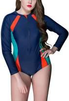 FEOYA Women's Long Sleeve Surf One Piece Swimsuit Sun Protection Rashguards XL