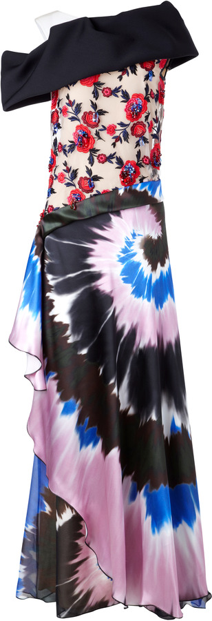 Rodarte M'O Exclusive: Embellished Silk-Satin Printed Gown