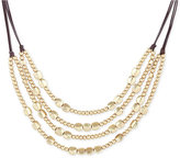 Lucky Brand Beaded Chain Layered Leather Statement Necklace