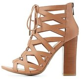Charlotte Russe Bamboo Laser Cut Lace-Up Sandals