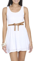 Wet Seal WetSeal Knit Lace Belted Dress White