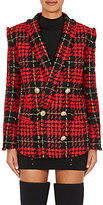 Balmain Women's Checked Tweed Double-Breasted Blazer