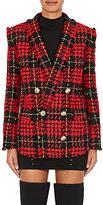 Balmain Women's Checked Tweed Double-Breasted Blazer