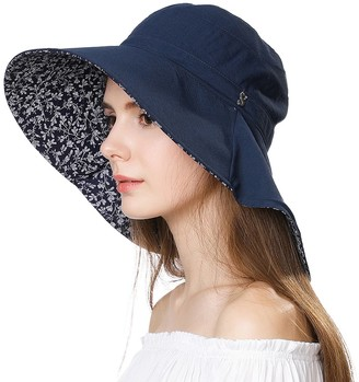 Jeff & Aimy Ladies Sun Hat Packable UV Protection Cotton Bucket Hat for Beach Large Brim Summer Gardening Hat with Neck Protection Reversible Navy Blue 55-59CM Large Head