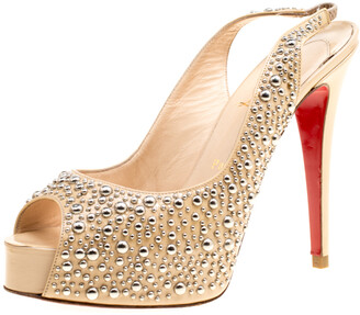 Christian Louboutin Beige Studded Patent Leather Star Prive Peep Toe Slingback Sandals Size 39