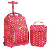 "J World J-World 16"" Lollipop Rolling Backpack with Lunch Kit - Pink/Yellow"