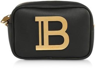 Balmain Black Leather W/golden Logo 18 B-camera Bag