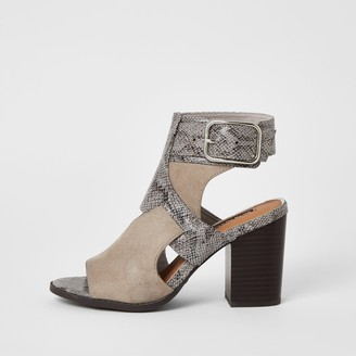 River Island Womens Grey snake printed cut out shoe boots