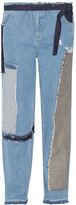 Tome Patchwork Distressed High-rise Wide-leg Jeans - Blue
