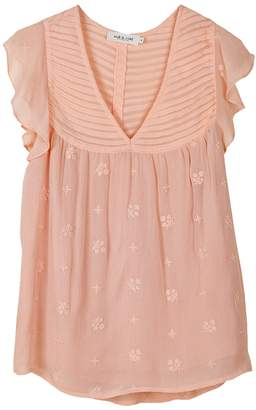 Indi&Cold - Blush Flower Embroidery Blouse - M - Pink