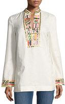 Tory Burch Long-Sleeve Embellished Tory Tunic, Ivory