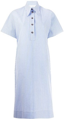 Cédric Charlier Striped Short-Sleeve Shirt Dress