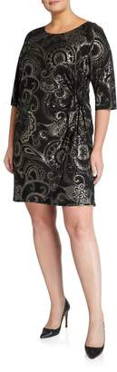 Robbie Bee Signature By Plus Size Liverpool Foil Faux-Wrap Sarong Dress
