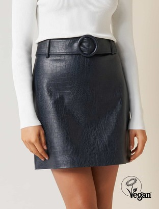 Forever New Hallie Embossed Faux Leather Mini Skirt - Navy - 14