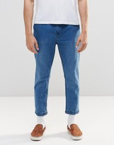 Pull&bear Cropped Slim Fit Jeans In Lightwash Blue