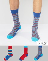 Original Penguin 3 Pack Socks Diamond Stripe Bright