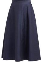 Junya Watanabe Herringbone-stripe Wool-blend Skirt - Womens - Navy
