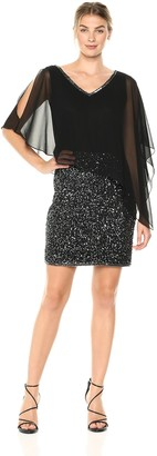 J Kara Women's Caplet Short Cocktail Beaded Dress