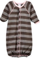 Baby Steps Gray & Pink Wide Stripe Gown - Infant