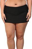Athena Women's Plus-Size Solid Banded Skirted Bikini Bottom