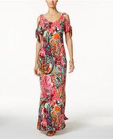 MSK Cold-Shoulder Paisley Print Maxi Dress