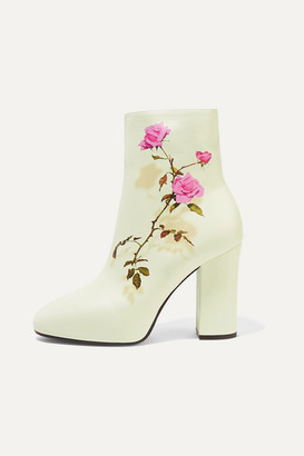 Dries Van Noten Floral-print Leather Ankle Boots - White