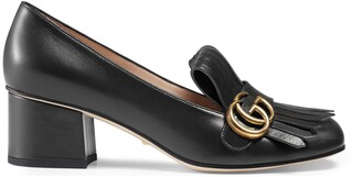 Gucci Leather mid-heel pump with fringe