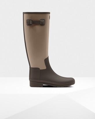 Hunter Women's Refined Texture Block Slim Fit Tall Rain Boots