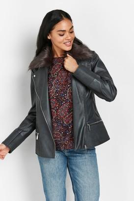Wallis Grey Faux Fur Collar Biker Jacket