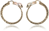 Roberto Cavalli Gold Tone Metal and Multicolor Enamel Snake Hoop Earrings
