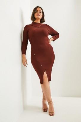 Karen Millen Curve Button Detailed Envelope Neck Knitted Dress