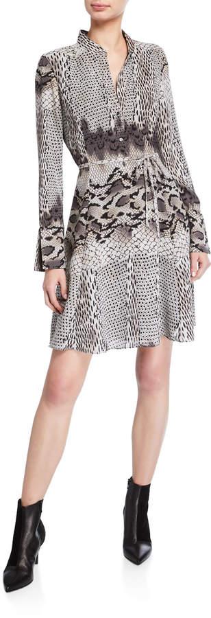 Natori Python-Print Long-Sleeve Shirtdress